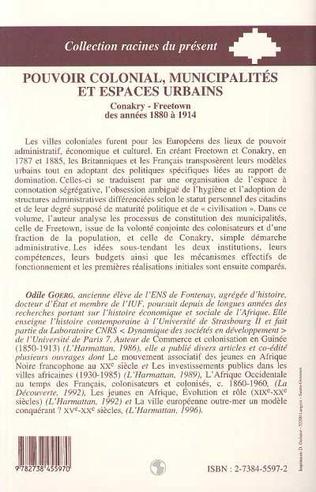 4eme Pouvoir colonial, municipalités et espaces urbains