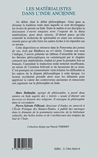 4eme LES MATERIALISTES DANS L'INDE ANCIENNE