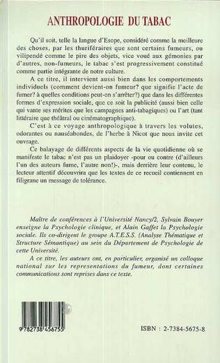 4eme ANTHROPOLOGIE DU TABAC