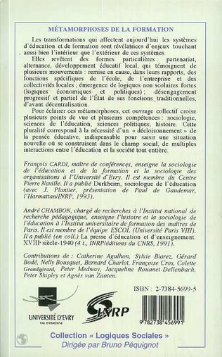 4eme METAMORPHOSES DE LA FORMATION