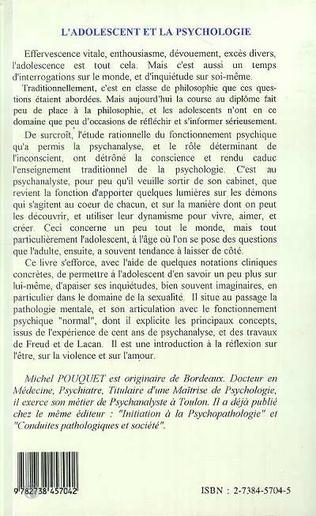 4eme L'ADOLESCENT ET LA PSYCHOLOGIE