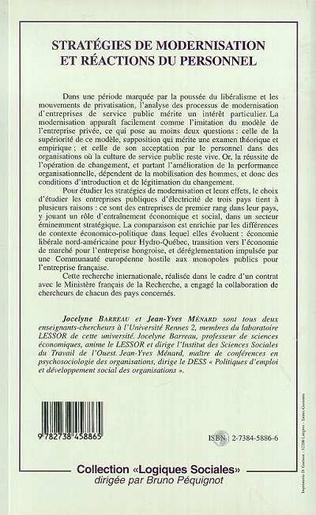 4eme STRATÉGIES DE MODERNISATION ET RÉACTIONS DU PERSONNEL