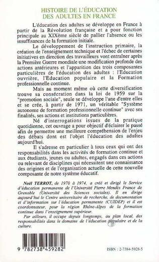 4eme Histoire de l'éducation des adultes en France