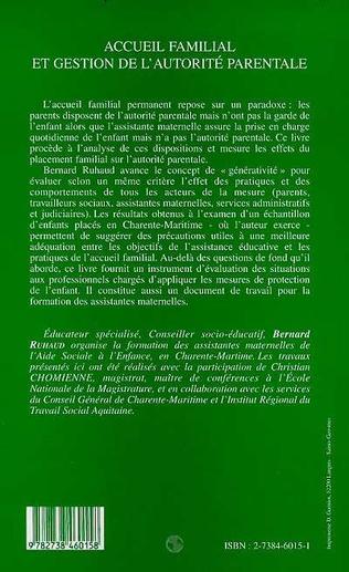 4eme ACCUEIL FAMILIAL ET GESTION DE L'AUTORITÉ PARENTALE