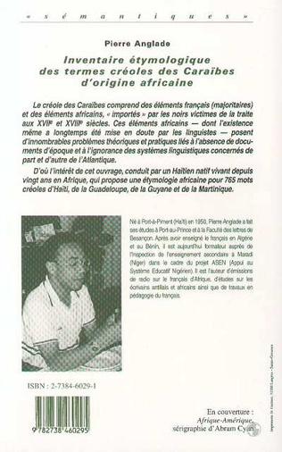 4eme Inventaire Étymologique des Termes Créoles des Caraibes d'origine Africaine