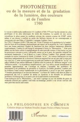4eme Photométrie ou De la mesure et de la gradation de la lumière, des couleurs et de l'ombre 1760