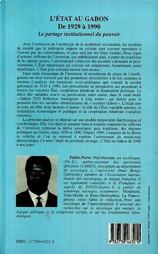 4eme L'état au Gabon de 1929 à 1990