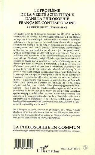 4eme Le Problème de la Vérité Scientifique dans la Philosophie Française Contemporaine