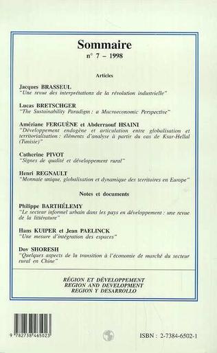 4eme REGION ET DEVELOPPEMENT N°7