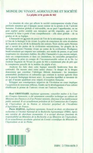 4eme Monde du Vivant, Agriculture et Société