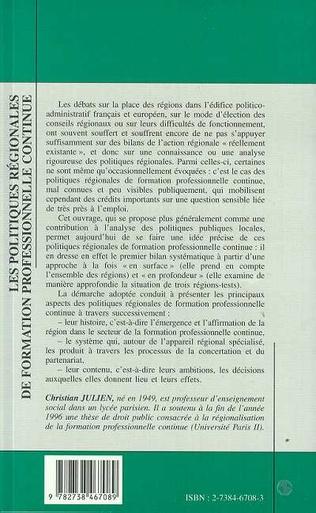 4eme Les Politiques Régionales de Formation Professionnelle Continue