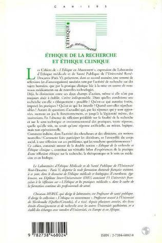 4eme Éthique de la Recherche et Éthique Clinique