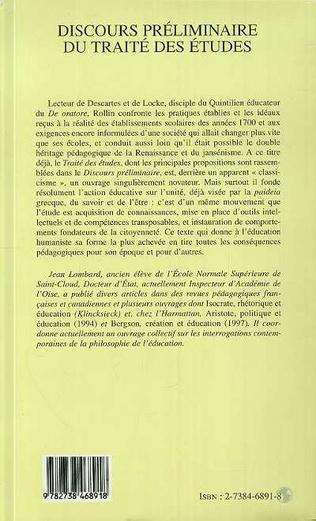 4eme Discours Préliminaire du Traité des Études