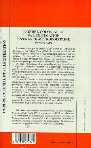 4eme L'ordre Colonial et Sa Légitimation en France Métropolitaine