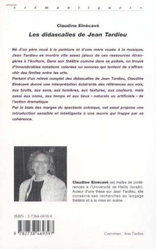Les Didascalies De Jean Tardieu Claudine Elnecave Livre
