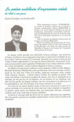 4eme La Poésie Antillaise d'expression Créole de 1960 à Nos Jours