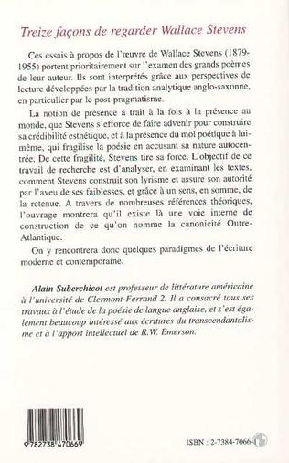 4eme TREIZE FAÇONS DE REGARDER WALLACE STEVENS