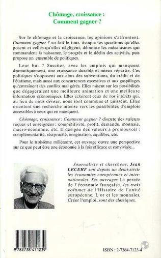 4eme Chômage, Croissance Comment Gagner ?