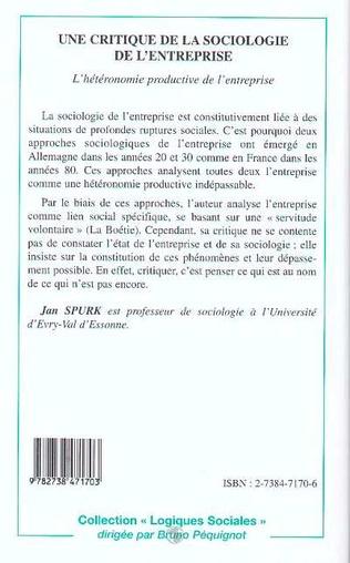 4eme Une critique de la sociologie de l'entreprise