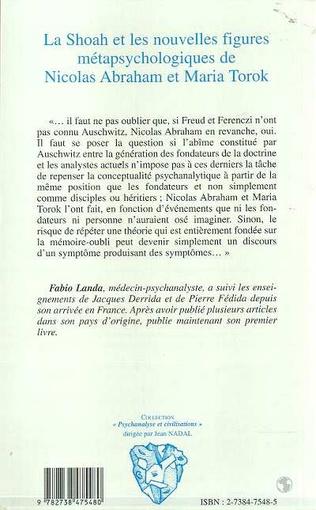 4eme LA SHOAH ET LES NOUVELLES FIGURES METAPSYCHOLOGIQUES DE NICOLAS ABRAHAM ET MARIA TOROK