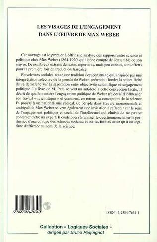 4eme LES VISAGES DE L'ENGAGEMENT DANS L'ŒUVRE DE MAX WEBER