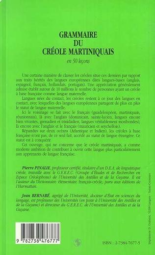 4eme GRAMMAIRE DU CRÉOLE MARTINIQUAIS EN 50 LEÇONS