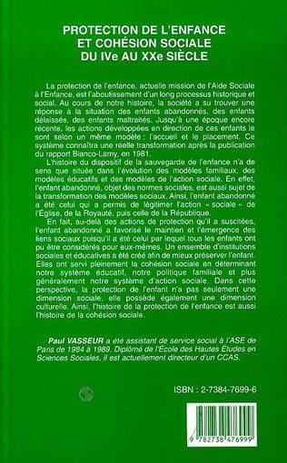 4eme PROTECTION DE L'ENFANCE ET COHÉSION SOCIALE DU IVe AU XXe SIECLE