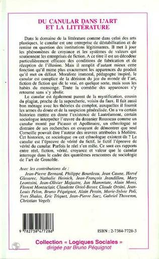 4eme CANULAR (DU) DANS L'ART ET LA LITTÉRATURE