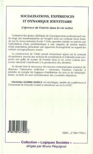 4eme SOCIALISATIONS, EXPÉRIENCES ET DYNAMIQUE IDENTITAIRE