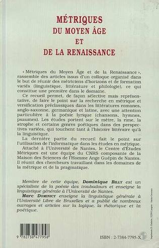 4eme MÉTRIQUES DU MOYEN ÂGE ET DE LA RENAISSANCE