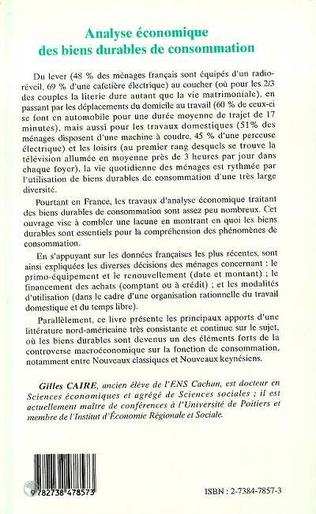 4eme ANALYSE ÉCONOMIQUES DES BIENS DURABLES DE CONSOMMATION