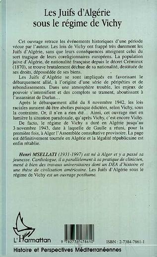 4eme LES JUIFS D'ALGÉRIE SOUS LE RÉGIME DE VICHY