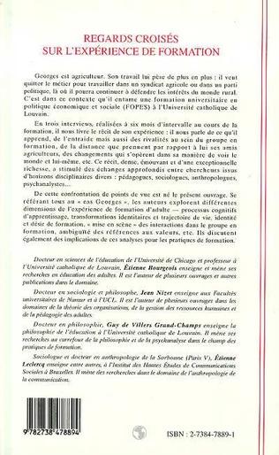 4eme REGARDS CROISES SUR L'EXPERIENCE DE FORMATION