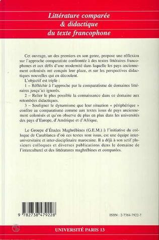 4eme Littérature comparée et didactique du texte francophone