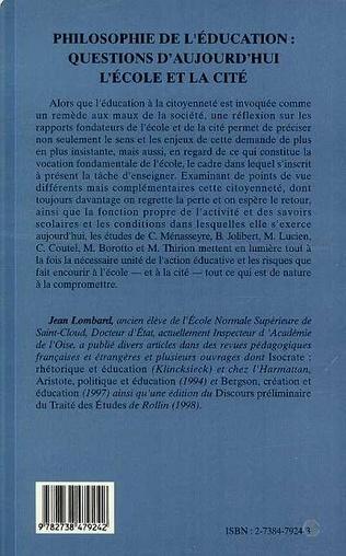 4eme Philosophie de l'éducation : questions d'aujourd'hui