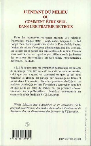 4eme L'ENFANT DU MILIEU OU COMMENT ETRE SEUL DANS UNE FRATRIE DE TROIS