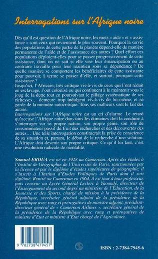 4eme INTERROGATIONS SUR L'AFRIQUE NOIRE