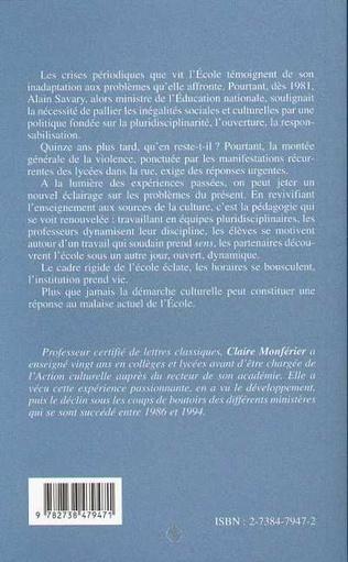 4eme LA CULTURE AU SECOURS DE L'ÉCOLE