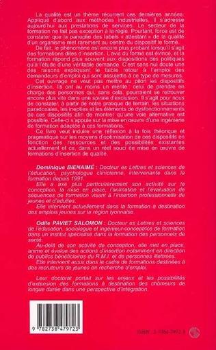 4eme INGENIERIE ET QUALITE DANS LES FORMATIONS D'INSERTION