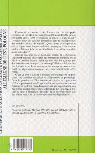 4eme CHÔMAGE ET EXCLUSION EN EUROPE POSTCOMMUNISTE ALLEMAGNE DE L'EST, POLOGNE