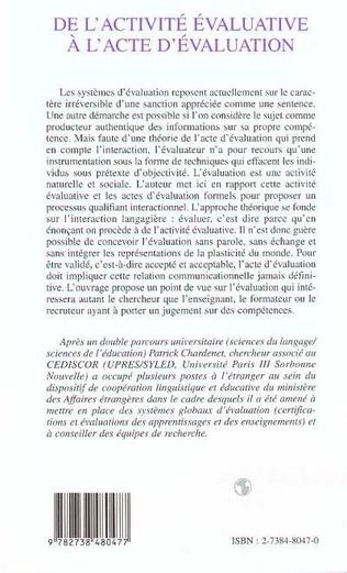 4eme ACTIVITE (DE L') EVALUATIVE A L'ACTE D'EVALUATION