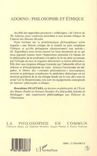 4eme ADORNO : PHILOSOPHIE ET ÉTHIQUE