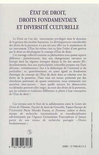 4eme ETAT DE DROIT, DROITS FONDAMENTAUX ET DIVERSITE CULTURELLE