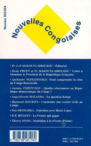 Revues Nouvelles Congolaises N 23 24 Nouvelles