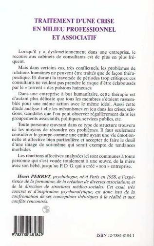 4eme TRAITEMENT D'UNE CRISE EN MILIEU PROFESSIONNEL ET ASSOCIATIF