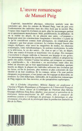 4eme L'ŒUVRE ROMANESQUE DE MANUEL PUIG