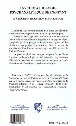 4eme PSYCHOPATHOLOGIE PSYCHANALYTIQUE DE L'ENFANT