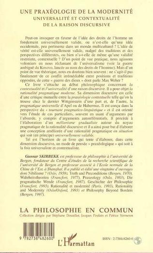 4eme PRAXÉOLOGIE (UNE) DE LA MODERNITÉ