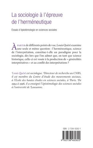 4eme LA SOCIOLOGIE A L'EPREUVE DE L'HERMENEUTIQUE