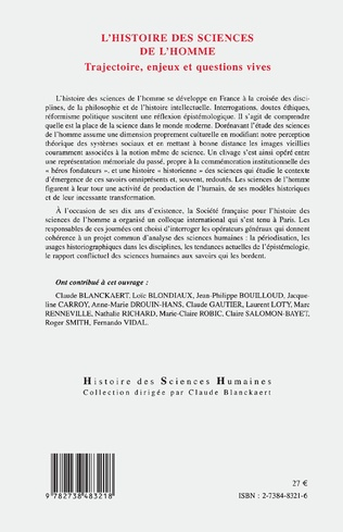 4eme HISTOIRE DES SCIENCES DE L'HOMME
